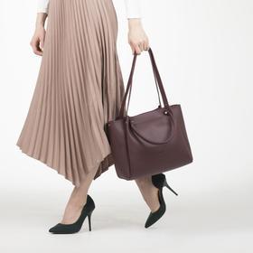 Сумка женская, 3 отдела на молнии, наружный карман, длинный ремень, цвет бордовый - фото 52504