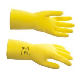 Перчатки латексные многоразовые, S, жёлтые