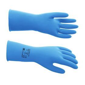 Перчатки латексные многоразовые, M, синие