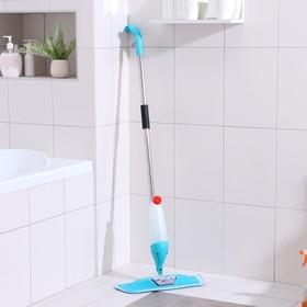 Швабра для мытья пола с распылителем и щёткой Доляна, стальная ручка 120 см, насадка из микрофибры 41×14 см, цвет МИКС