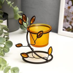 """Подсвечник металл, стекло на 1 свечу """"Листья с самоцветами"""" 10х8х8 см"""