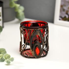 "Подсвечник металл, стекло на 1 свечу ""Кованые узоры"" 7х6,3х6,3 см"