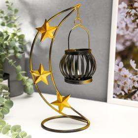 """Подсвечник металл,  на 1 свечу """"Звёзды"""" чёрная с золотом 24,5х11х11 см"""
