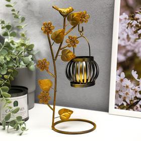 """Подсвечник металл на 1 свечу """"Цветущее дерево с птицами"""" чёрная с золотом 28х14х10 см"""