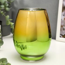 """Подсвечник стекло на 1 свечу """"Вытянутый бокал"""" зелёно-золотой 14,5х10,5х10,5 см"""