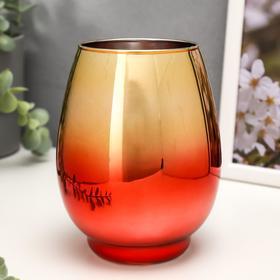 """Подсвечник стекло на 1 свечу """"Вытянутый бокал"""" красно-золотой 14,5х10,5х10,5 см"""