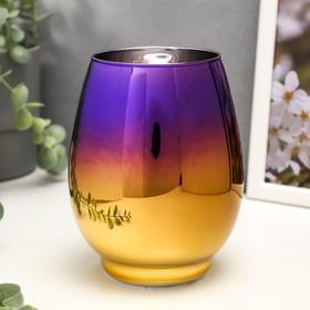 """Подсвечник стекло на 1 свечу """"Вытянутый бокал"""" фиолетово-золотой 14,5х10,5х10,5 см"""
