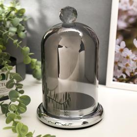 """Подсвечник стекло на 1 свечу """"Колба с кристаллом"""" серебристая дымка 20,6х12,5х12,5 см"""