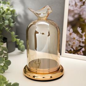 """Подсвечник стекло на 1 свечу """"Колба с птичкой"""" золотая карамель 21,5х12,5х12,5 см"""