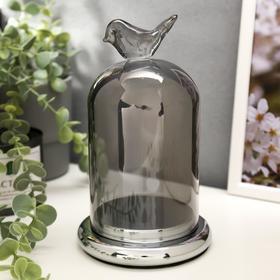 """Подсвечник стекло на 1 свечу """"Колба с птичкой"""" серебристая дымка 21,5х12,5х12,5 см"""