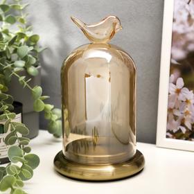 """Подсвечник стекло на 1 свечу """"Колба с птичкой"""" под латунь 21,5х12,5х12,5 см"""
