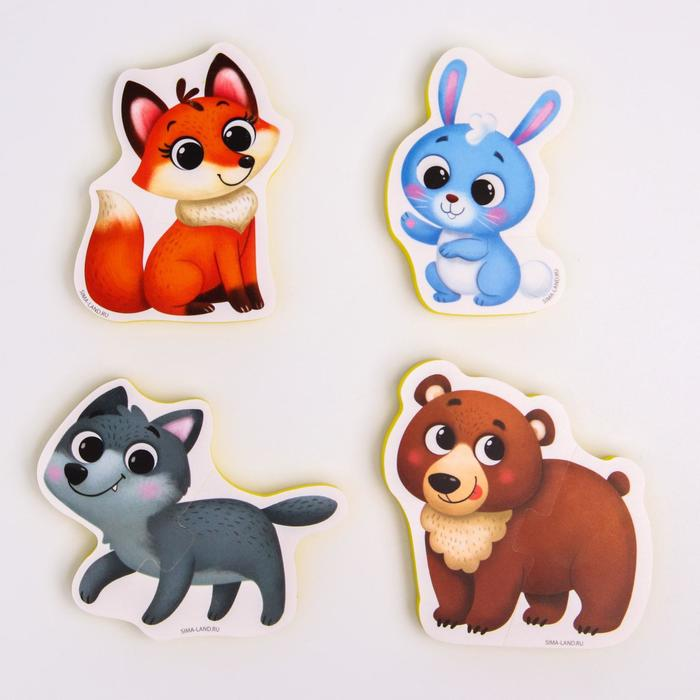 Макси - пазлы для ванны (головоломка), «Лесные зверята», 4 пазла, 8 деталей - фото 556071