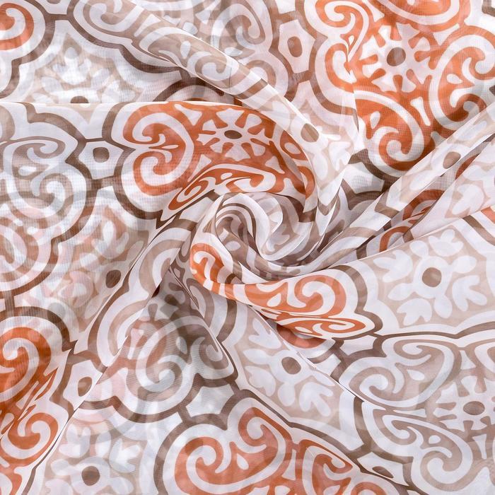 """Ткань тюлевая """"Дамаск"""" бежевый, ш.280 см, дл.89,5 м, пл. 45 г/м2, 100% п/э"""