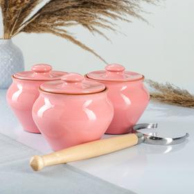 "{{photo.Alt || photo.Description || 'Набор ""Вятская керамика Трио"" 0,7лх3шт + ухват, розовый'}}"