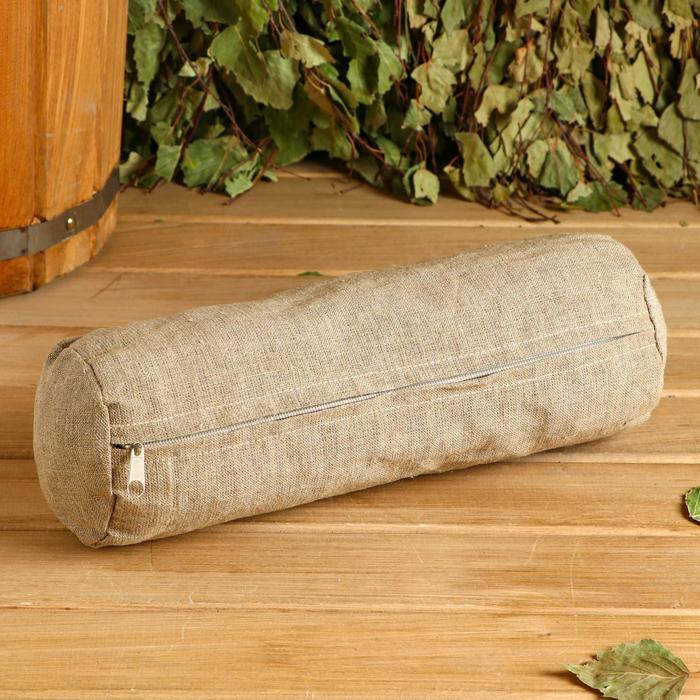 Валик с очищеной соломой, натуральный лен 30х10 см - фото 8206533