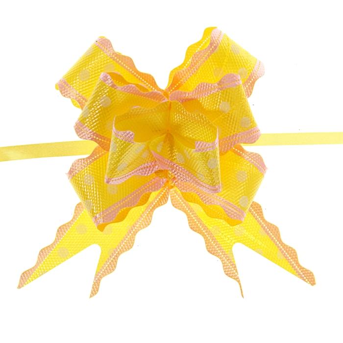 """Бант-бабочка №3 """"Горох"""", цвет жёлтый"""