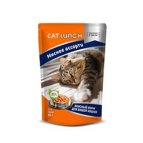 Влажный корм Cat Lunch для кошек, мясное ассорти в желе, 85 г
