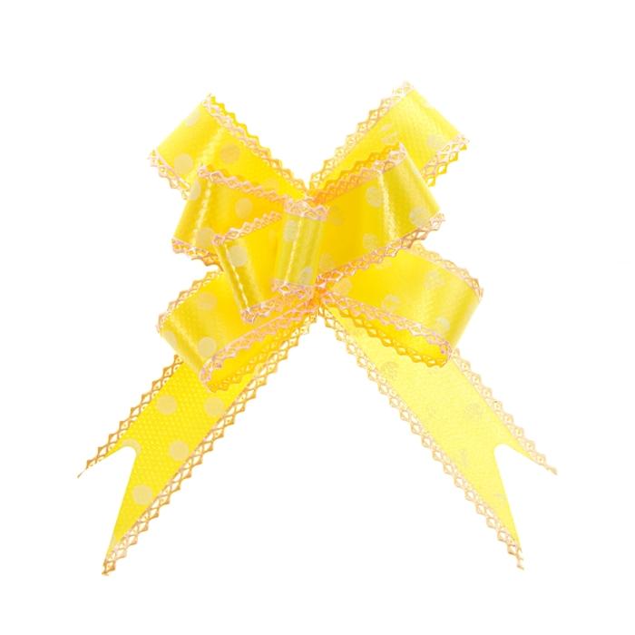 """Бант-бабочка №2,3 """"Горох"""", цвет жёлтый"""