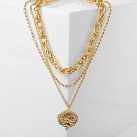 """Кулон """"Цепь"""" тройное плетение, цвет золото , длина 51см"""