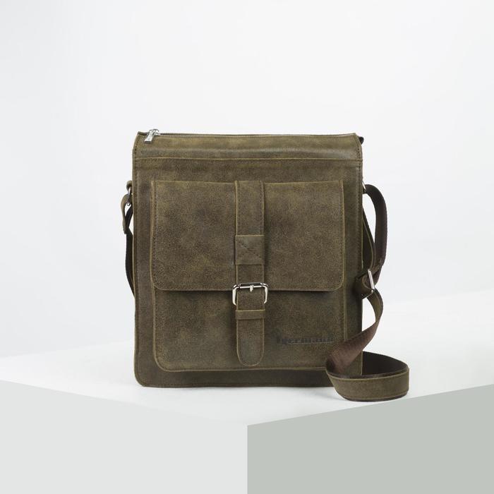 Сумка мужская, отдел на молнии, 2 наружных кармана, длинный ремень, цвет оливковый - фото 753674