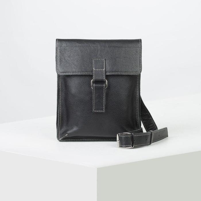 Сумка мужская, отдел на клапане, наружный карман, цвет чёрный - фото 753686