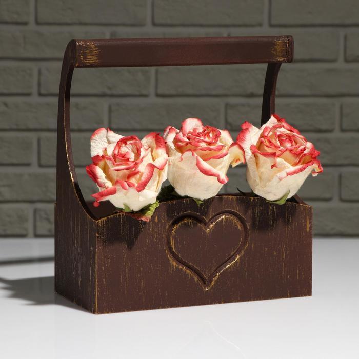 """Кашпо деревянное """"Symmetric Heart, сердце"""", с ручкой, золотой винтаж, 25×12,5×10(28) см - фото 850898"""