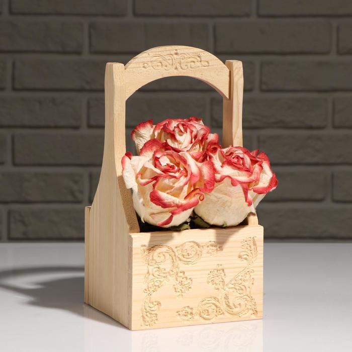 """Кашпо деревянное """"Хозяюшка"""", с ручкой, натуральный, 14×12,5×10(27) см - фото 406964"""
