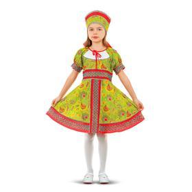 Русский народный костюм «Сказочные цветы», платье, головной убор, р. 30, рост 110-116 см