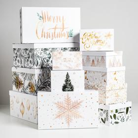 Набор коробок подарочных 12 в 1 «Белое золото», 18 х 11 х 6.5 см - 46,6 х 35,2 х 17.5 см