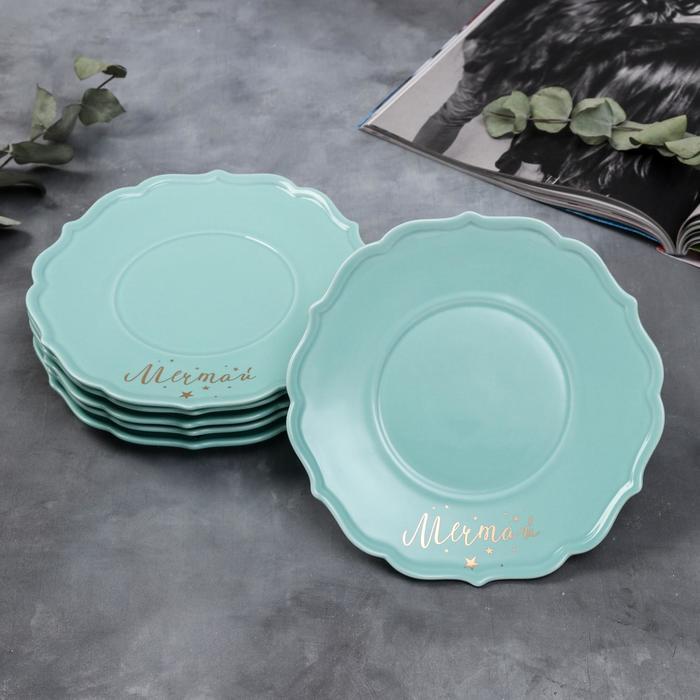 Набор тарелок «Мечтай», 20 см, голубые, 6 шт - фото 251200