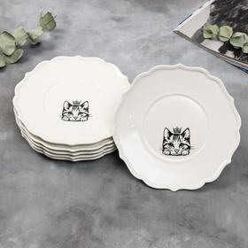 Набор тарелок «Кошка», 20 см, белые, 6 шт