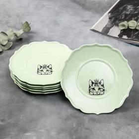 Набор тарелок «Кошка», 20 см, зелёные, 6 шт
