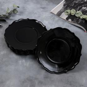 Набор тарелок «Чёрные», 20 см, 6 шт