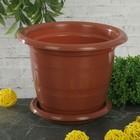 """Горшок для цветов с поддоном 1 л """"Виола"""", цвет коричневый - фото 1694405"""