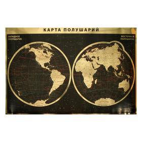 Интерьерная карта Мира/полушарий (физическая). (GOLD)