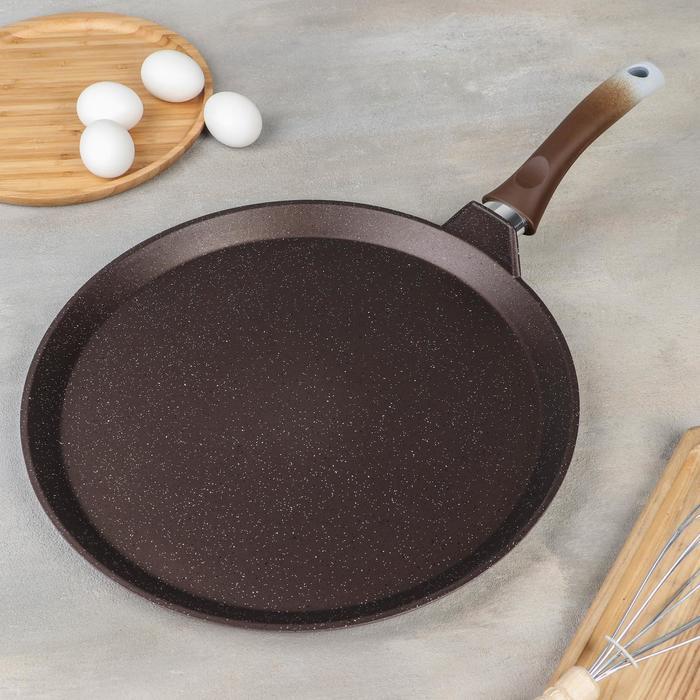 Сковорода-лавашница , d=35 см, антипригарное покрытие, цвет кофейный мрамор - фото 207384