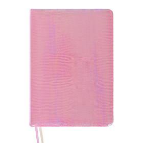 Ежедневник недатированный B6, 160 листов Glossy, обложка искусственная кожа, термотиснение, 2 ляссе, тонированный блок 70 г/м2, нежно-розовый