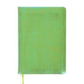 Ежедневник недатированный B6, 160 листов Glossy, обложка искусственная кожа, термотиснение, 2 ляссе, тонированный блок 70 г/м2, салатовый металлик
