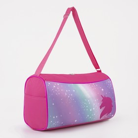 Сумка спортивная «Единорог», 40х21х24, отдел на молнии, 2 н/кармана, цвет розовый