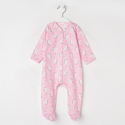 Комбинезон детский, цвет светло-розовый/единорог, рост 62 см