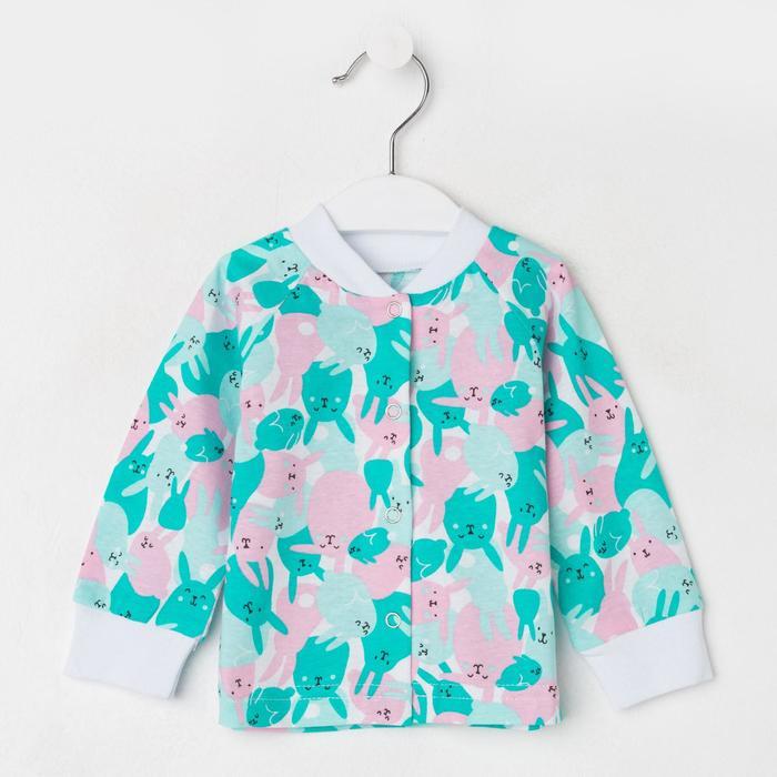 Кофточка детская, цвет розовый/голубой зайки, рост 56 см - фото 2032588