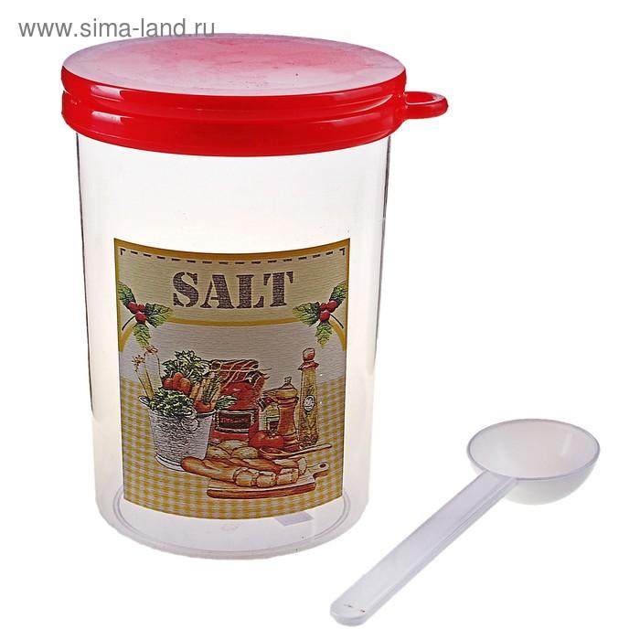 """Емкость для сыпучих продуктов 1 л """"Ассорти. Соль"""" с ложкой, крышка"""