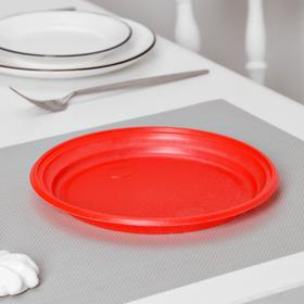 Тарелка d=20,5 см, 100 шт/уп, цвет красный Ош