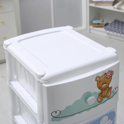 Комод детский 4-х секционный «Медвежата», на колёсиках, цвет белый