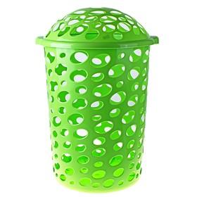 Корзина для белья круглая с крышкой «Сорренто», 45 л, 39×42×67 см, цвет зелёный