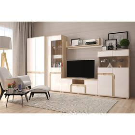 Гостиная «Марсель», со шкафом, МДФ, 340х44,6х185 см, цвет сонома/белый глянец