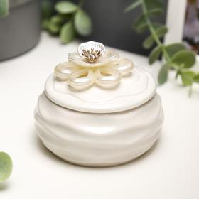 """Сувенир керамика """"Белый жасмин"""" 6,5х8,5х8,5 см"""