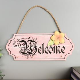 "Крючки декоративные дерево ""Вывеска Welcome с цветком"" 11,8х30х2,5 см"