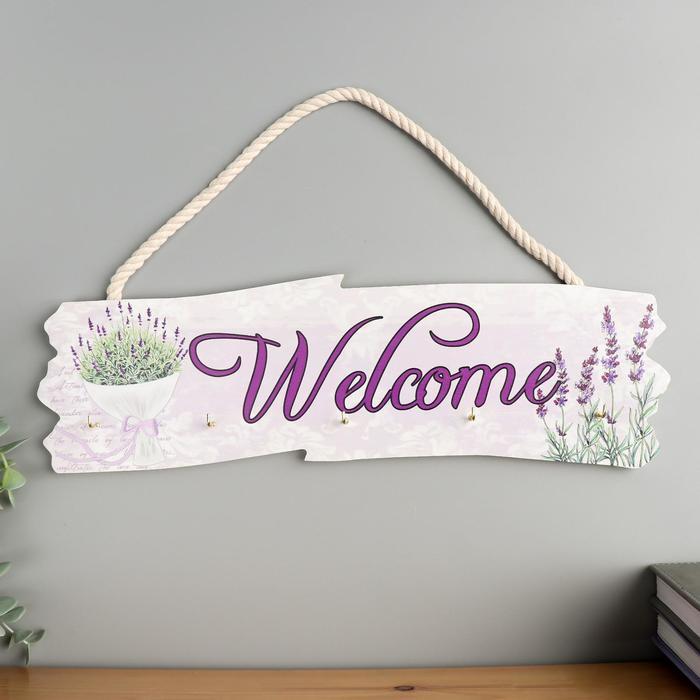 """Крючки декоративные дерево """"Букет лаванды - Welcome"""" 10,5х36х2,7 см - фото 851039"""
