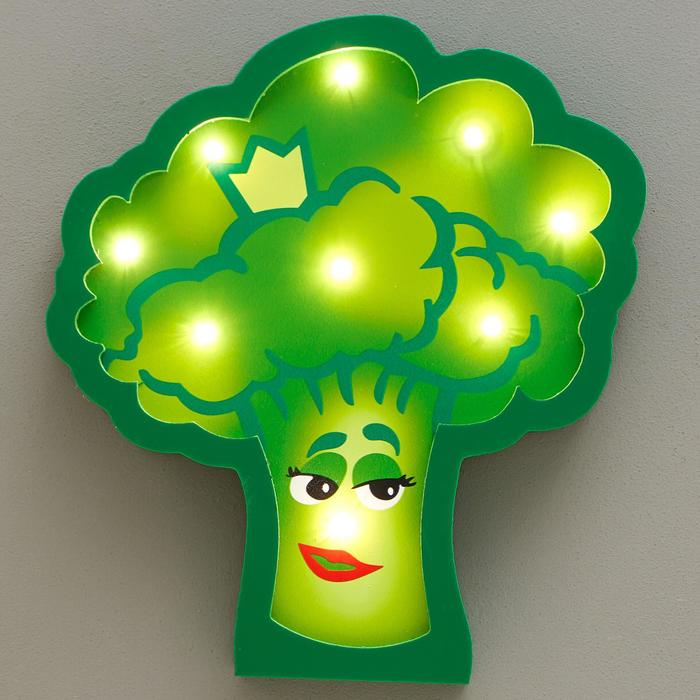 """Ночник """"Брокколи"""" 9хLED батарейки 2ААА зеленый 23х3,5х23,5 см - фото 1872021"""